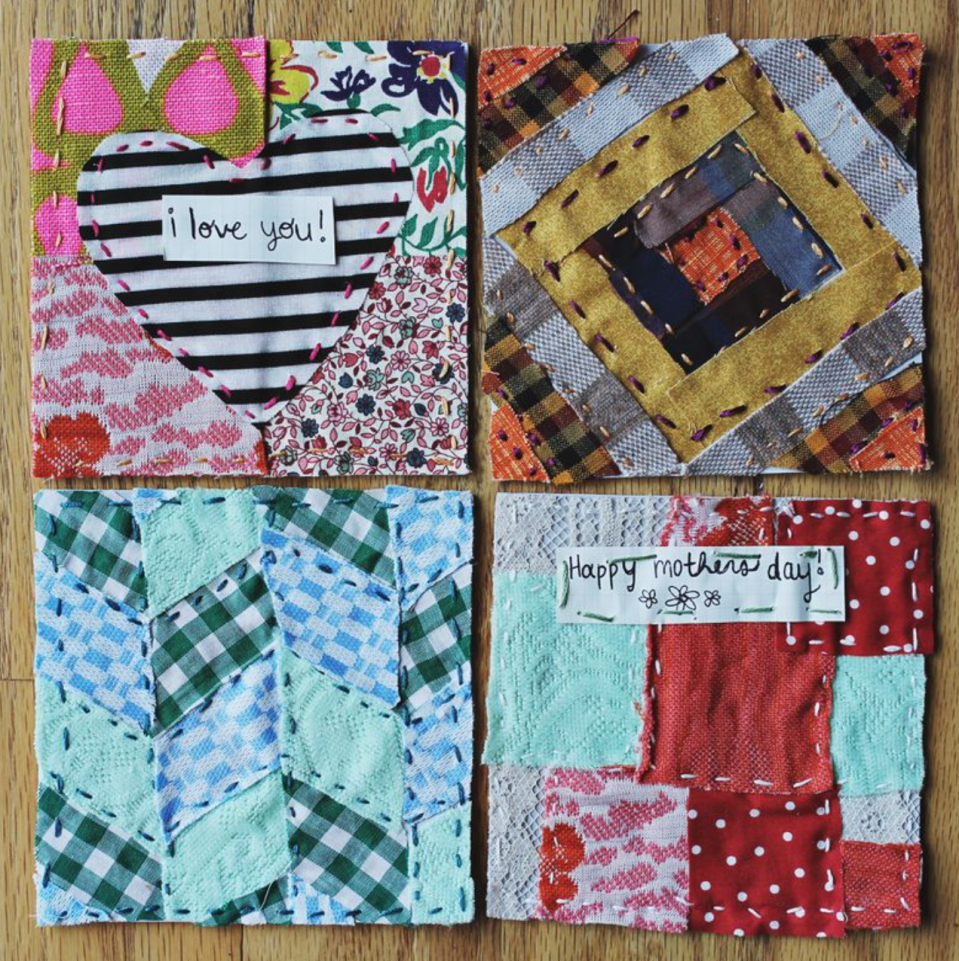 """<p>If you have a bit more time on your hands to craft, these quilted Mother's Day cards are a great option. You could even create them using special garments to make the cards that much more memorable. </p><p><strong>Get the tutorial at <a href=""""https://abeautifulmess.com/quilted-mothers-day-greeting-cards/"""" rel=""""nofollow noopener"""" target=""""_blank"""" data-ylk=""""slk:A Beautiful Mess"""" class=""""link rapid-noclick-resp"""">A Beautiful Mess</a>. </strong></p><p><a class=""""link rapid-noclick-resp"""" href=""""https://www.amazon.com/Scissors-Titanium-Multipurpose-Comfort-Grip-Handles/dp/B07H3QKN2Z?tag=syn-yahoo-20&ascsubtag=%5Bartid%7C2164.g.35668391%5Bsrc%7Cyahoo-us"""" rel=""""nofollow noopener"""" target=""""_blank"""" data-ylk=""""slk:SHOP SCISSORS"""">SHOP SCISSORS </a></p>"""