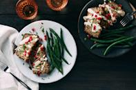 """This hearty meatless loaf combines earthy wild mushrooms with classic falafel spices. A lemony tahini sauce takes the place of gravy and bright pomegranate seeds lend flair. <a href=""""https://www.epicurious.com/recipes/food/views/falafel-mushroom-loaf?mbid=synd_yahoo_rss"""" rel=""""nofollow noopener"""" target=""""_blank"""" data-ylk=""""slk:See recipe."""" class=""""link rapid-noclick-resp"""">See recipe.</a>"""