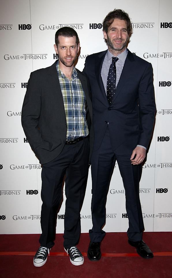 "D.B Weiss and David Benioff attend the ""<span style=""text-decoration:underline;""></span><a target=""_blank"" href=""http://tv.yahoo.com/game-of-thrones/show/41208"">Game of Thrones</a>"" Season 1 DVD premiere at Old Vic Tunnels on February 29, 2012 in London, England."