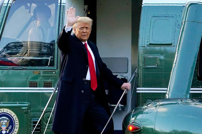 <p>FILE - In this Wednesday, Jan. 20, 2021, file photo, President Donald Trump waves as he boards Marine One on the South Lawn of the White House, in Washington, en route to his Mar-a-Lago Florida Resort. Former President Trump has named two lawyers to his impeachment defense team, one day after it was revealed that the former president had parted ways with an earlier set of attorneys. (AP Photo/Alex Brandon, File)</p> (Associated Press)