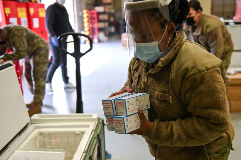 A U.S. army soldier moves the coronavirus disease (COVID-19) vaccines at Allgood Army Community Hospital located inside U.S. Army Garrison Humphreys in Pyeongtaek