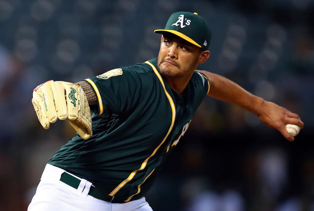 "<a class=""link rapid-noclick-resp"" href=""/mlb/players/9582/"" data-ylk=""slk:Sean Manaea"">Sean Manaea</a> is off to a terrific start and needs to be added in all fantasy leagues (AP)."