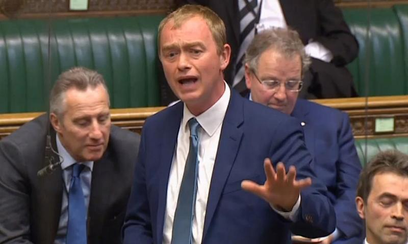 Tim Farron defends his record on LGBT rights in the Commons last week.