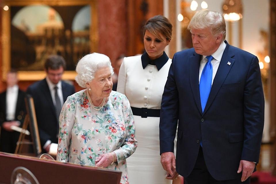 The Queen with the First Lady and Donald Trump: Mandel Ngan/AFP/Getty Images