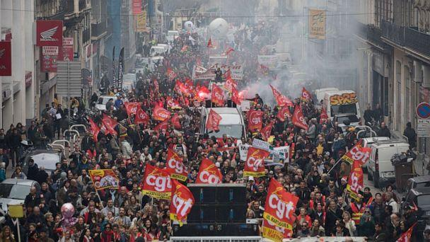 PHOTO: Protesters march in Marseille, southern France, Dec. 17, 2019. (Daniel Cole/AP)
