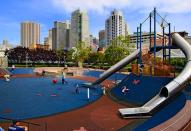 """<div class=""""caption-credit""""> Photo by: Yerba Buena Gardens</div><div class=""""caption-title"""">Yerba Buena Playground, San Francisco</div>This playground is built on the rooftop of the Moscone Convention Center in downtown San Francisco. It features a 25-foot slide that whooshes kids to a spongy rubber play pit."""