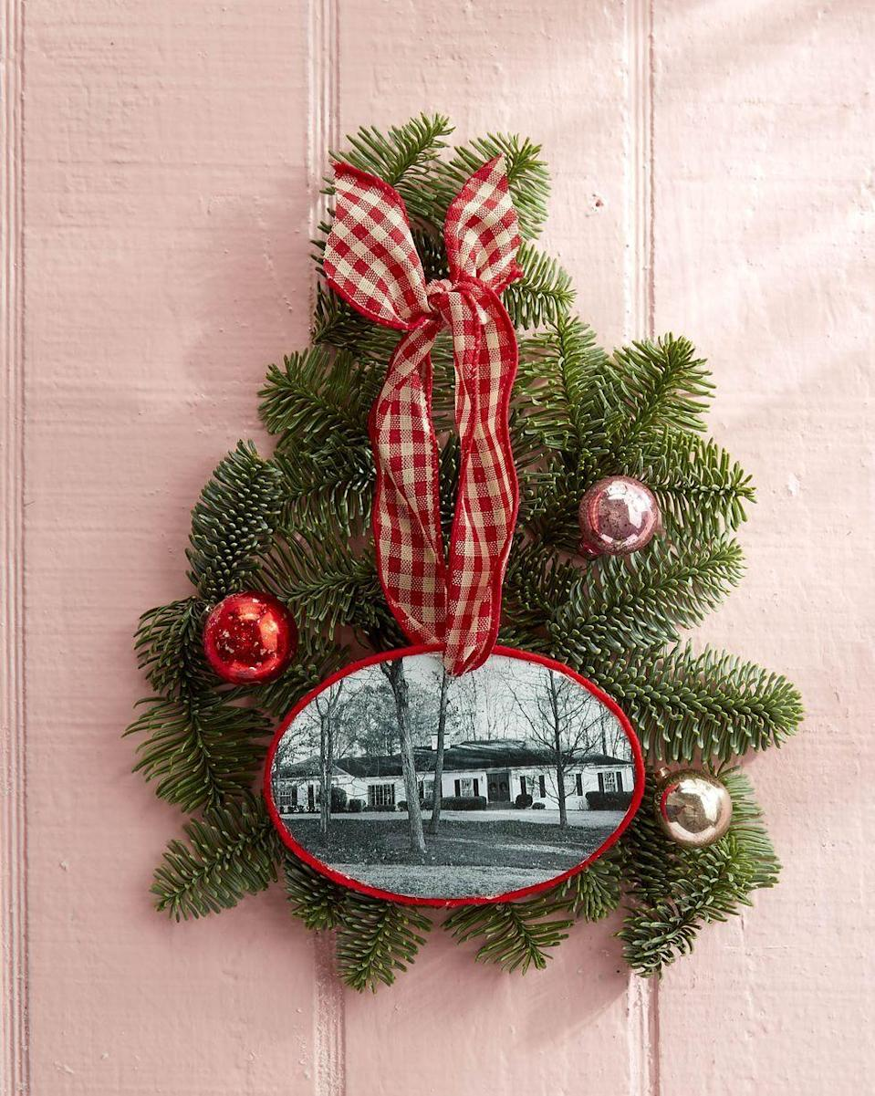 """<p>He's worked tirelessly to get through that Christmas honey-do list, so why not reward your significant other with this ornament starring your special home for the holidays—and every day.</p><p><strong>To make</strong>: Mod Podge a photograph of your house to an oval wood crafting blank. Once dry, attach a length of felt or twine to the edge with hot glue. Use an awl or small drill bit to create a hole in the top; thread a ribbon through the hole to hang.</p><p><a class=""""link rapid-noclick-resp"""" href=""""https://go.redirectingat.com?id=74968X1596630&url=https%3A%2F%2Fwww.etsy.com%2Fmarket%2Foval_wood_blanks&sref=https%3A%2F%2Fwww.countryliving.com%2Fdiy-crafts%2Ftips%2Fg645%2Fcrafty-christmas-presents-ideas%2F"""" rel=""""nofollow noopener"""" target=""""_blank"""" data-ylk=""""slk:SHOP WOOD CRAFTING BLANKS"""">SHOP WOOD CRAFTING BLANKS</a></p>"""