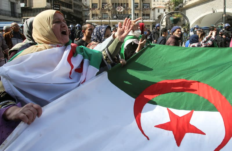Protest demanding political change, in Algiers