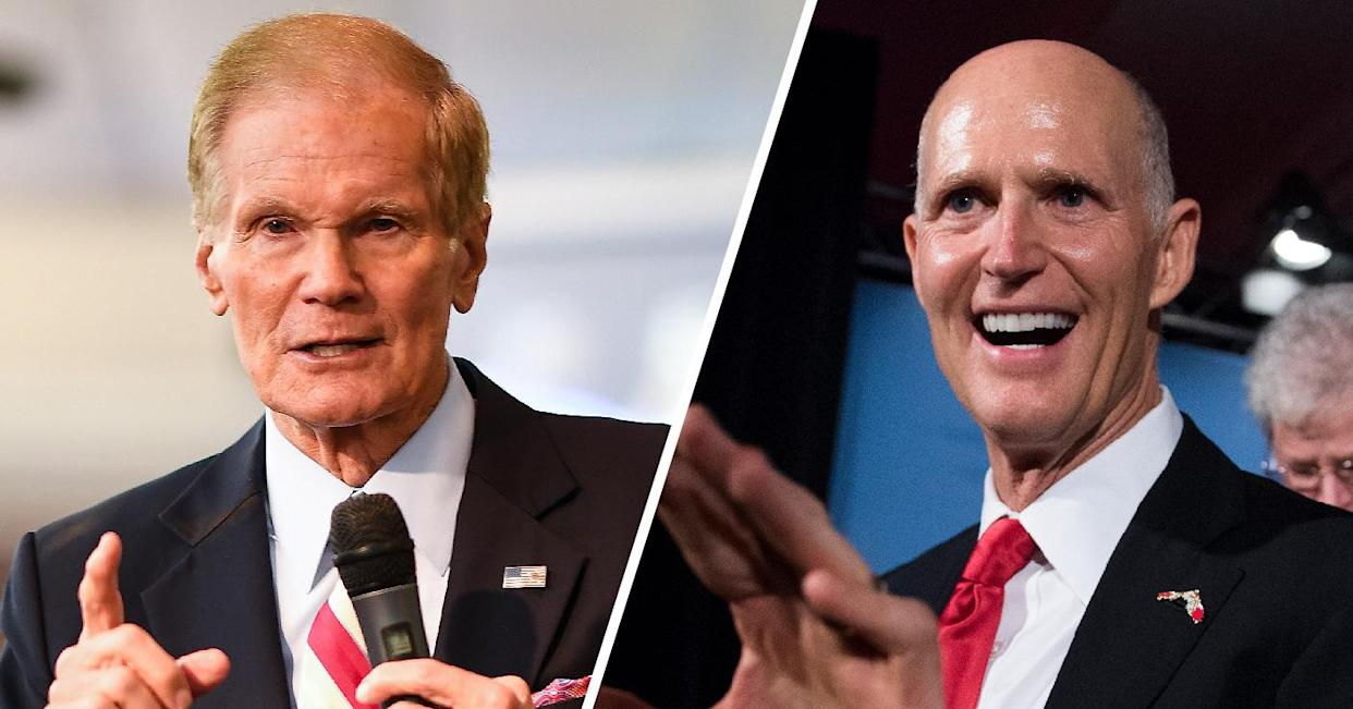Sen. Bill Nelson, D-Fla., and Gov. Rick Scott, R-Fla. (Photos: Jeff J Mitchell/Getty Images, Tom Williams/CQ Roll Call)