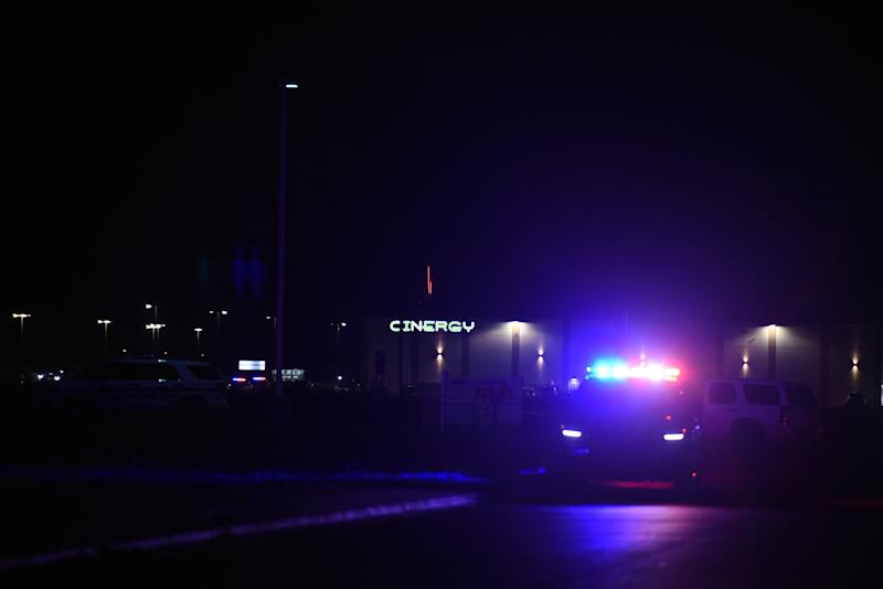 Police vehicles sit outside of Cinergy movie theatre after a man went on a shooting spree in Odessa, Texas, U.S. September 1, 2019. REUTERS/Callaghan O'Hare