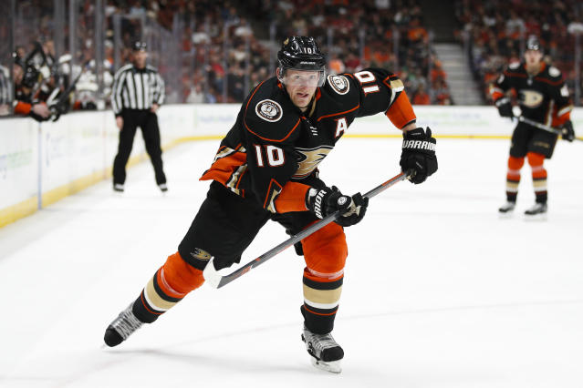 FILE - In this March 18, 2018, file photo, Anaheim Ducks' Corey Perry skates during the second period of an NHL hockey game against the New Jersey Devils, in Anaheim, Calif. The Dallas Stars have moved quickly to restore their forward depth. A person with knowledge of the decision says the Stars have agreed to a deal with veteran winger Corey Perry. The person spoke to The Associated Press on condition of anonymity Monday, July 1, 2019, because the contract has not yet been signed. (AP Photo/Jae C. Hong, File)