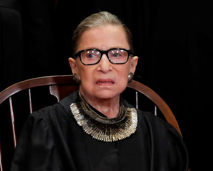 Ginsburg during a group portrait session for the new full court, (Photo: Jim Young/Reuters)