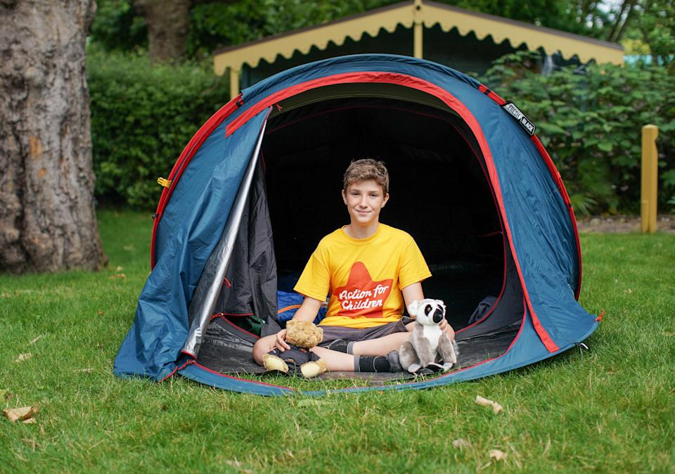 Max Woosey in his tent at London Zoo earlier this month (Anna Gordon for Action for Child)