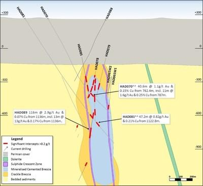 Figure 14. Schematic cross section (looking northwest, Section Line 4a-4b, 200m section width, as shown in Figure 10). (CNW Group/Newcrest Mining Limited)