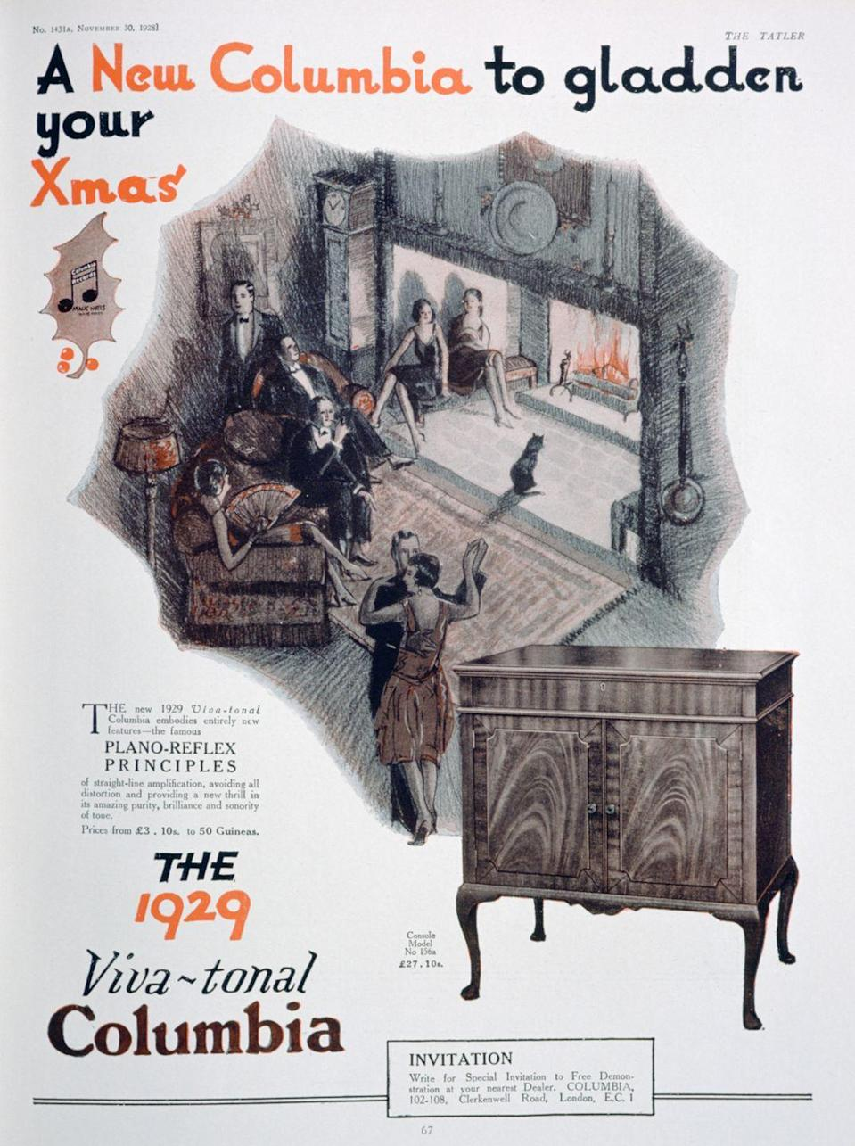 <p>In this Christmas advert for Columbia gramophones, a dapper group of friends enjoy a cozy fire. The prices of the gramophones are advertised to start as low as $3 ($45 in 2020) and cost as much as $27 ($411 in 2020) for the wooden beaut showcased in the ad.</p>