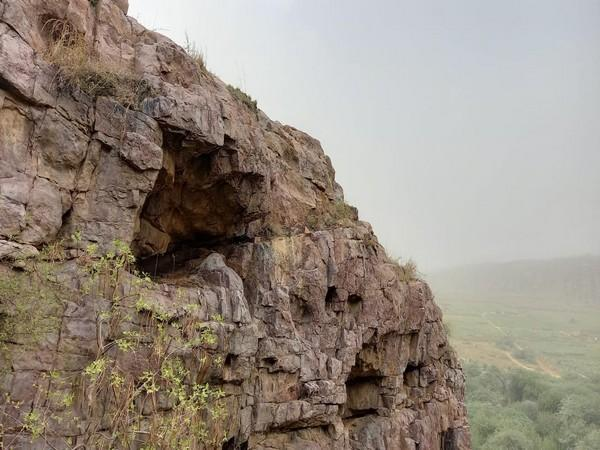 Visuals of the cave in Faridabad's Mangarbani hill forest.