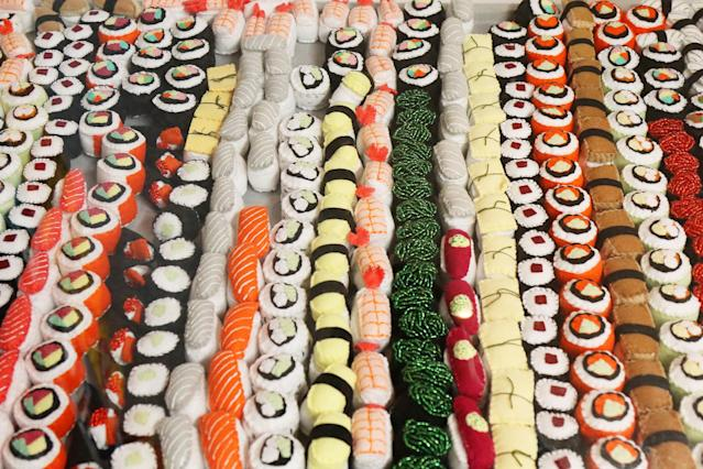 Individual handmade felt sushi displayed at Sparrow Mart. Customers can select the pieces they want for purchase. (Photo: Angela Kim/Yahoo Lifestyle)