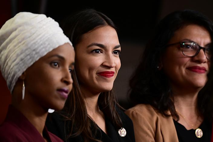 U.S. Reps; Ilhan Omar (D-MN), Alexandria Ocasio-Cortez (D-NY) and Rashida Tlaib (D-MI) hold a news conference after Democrats in the U.S. Congress moved to formally condemn President Donald Trump's attacks on the four minority congresswomen on Capitol Hill in Washington, U.S., July 15, 2019. REUTERS/Erin Scott