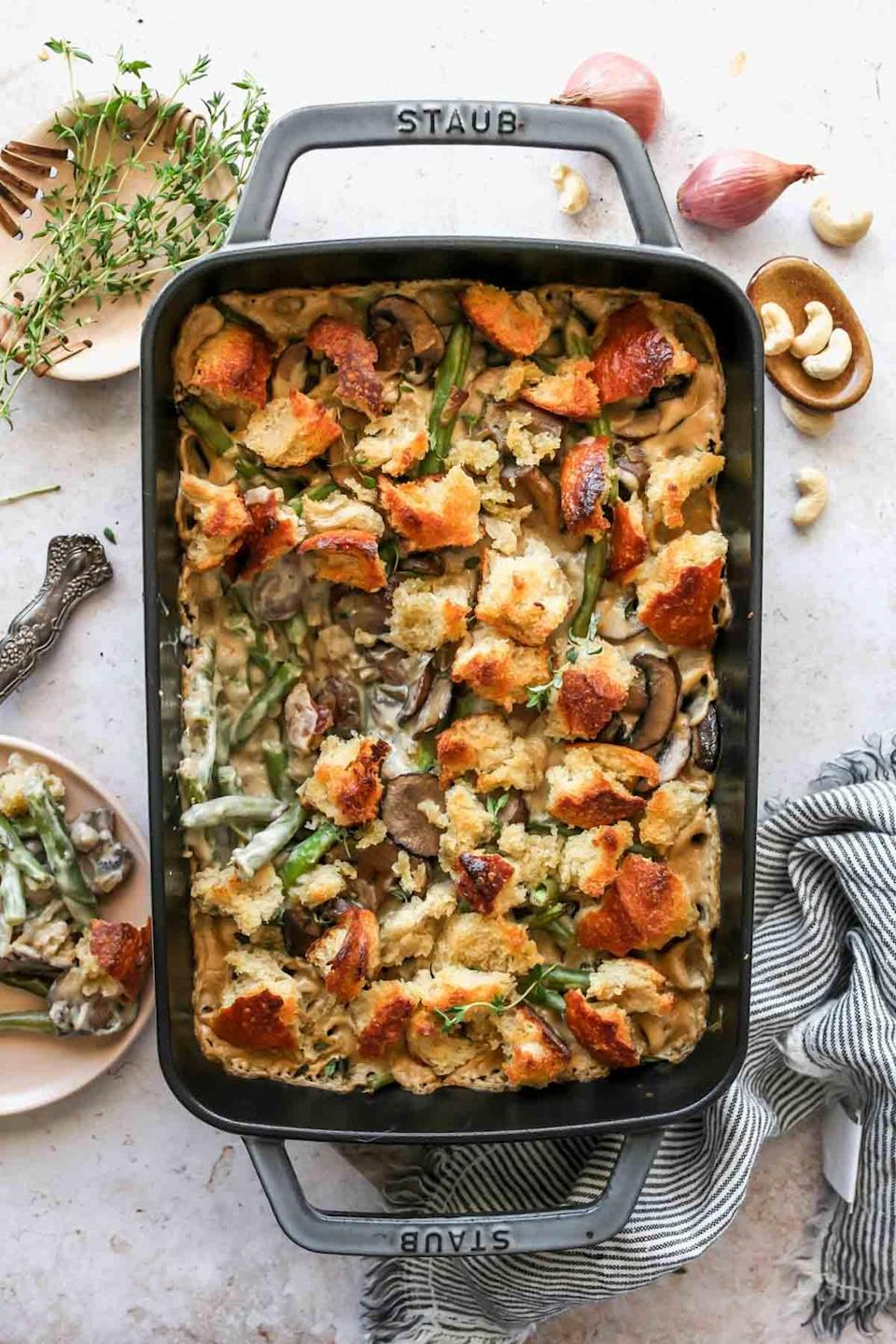 """<p>Try a new kind of green bean casserole when you swap out regular milk for cashew cream. It'll give you new flavors you've never experienced before, while still keeping the traditionally tasty green bean tone. Enjoy!</p> <p><strong>Get the recipe</strong>: <a href=""""https://dishingouthealth.com/green-bean-casserole-with-cashew-cream/?utm_source=feedly&utm_medium=rss&utm_campaign=green-bean-casserole-with-cashew-cream"""" class=""""link rapid-noclick-resp"""" rel=""""nofollow noopener"""" target=""""_blank"""" data-ylk=""""slk:dairy-free green bean casserole"""">dairy-free green bean casserole</a></p>"""