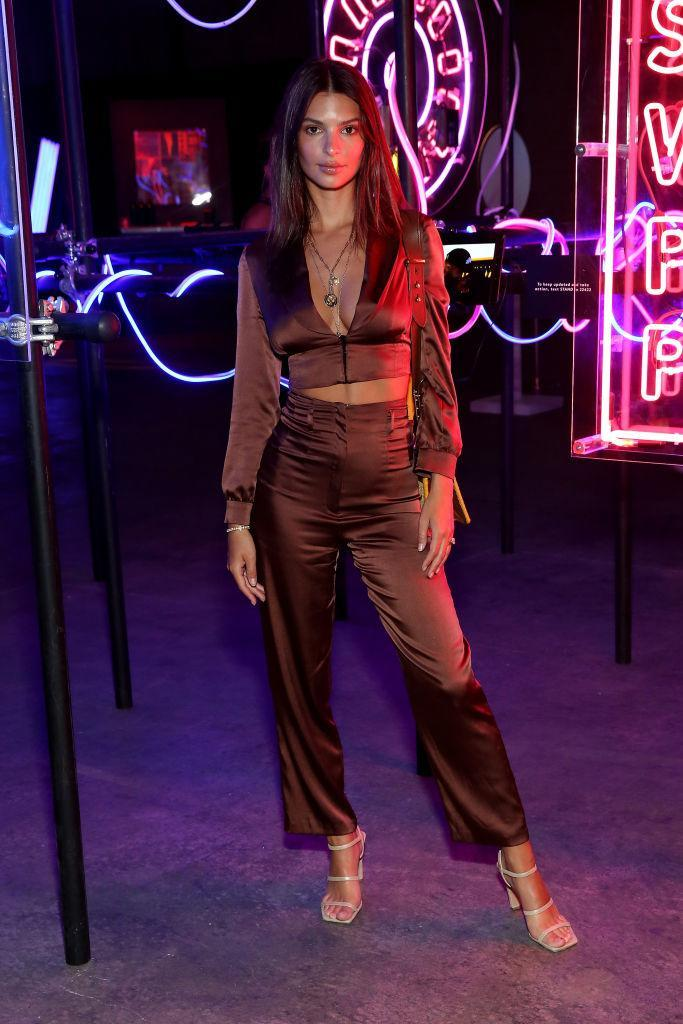 <p>Emily Ratajkowski wore a silky co-ord and this season's most coveted trend (square heels) for <em>Refinery29</em>'s 'Turn it into Art' event on 25 July.<em> [Photo: Getty]</em> </p>