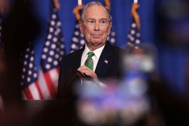 PHOTO: Former Democratic presidential candidate Mike Bloomberg addresses his staff and the media after announcing that he will be ending his campaign, March 4, 2020, in New York City. (Spencer Platt/Getty Images)