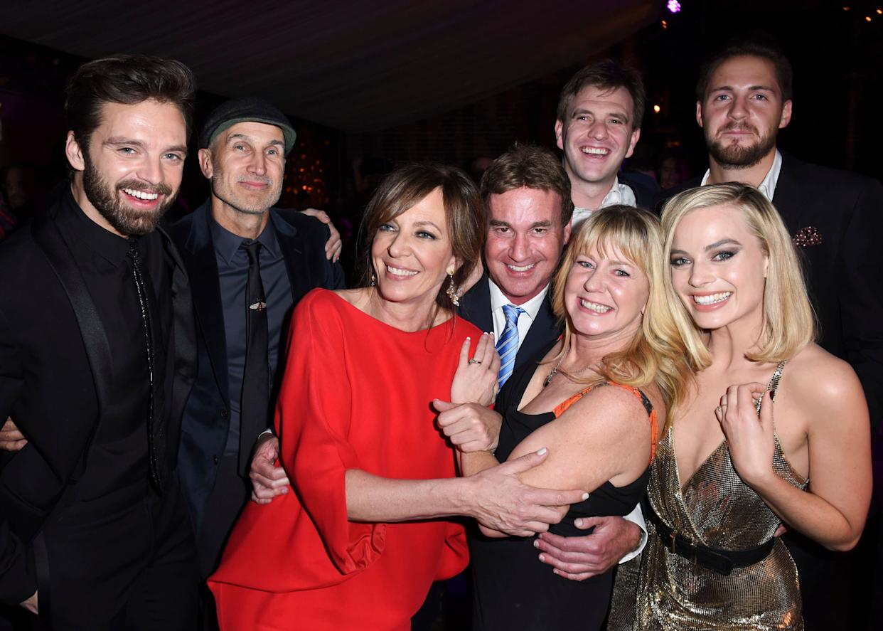 LOS ANGELES, CA - DECEMBER 05: Sebastian Stan, Craig Gillespie, Allison Janney, Steven Rogers, Bryan Unkeless, Tonya Harding, Ricky Russert and Margot Robbie attend NEON and 30WEST Present the Los Angeles Premiere of 'I, Tonya' Supported By Svedka on December 5, 2017 in Los Angeles, California. (Photo by Vivien Killilea/Getty Images for NEON)