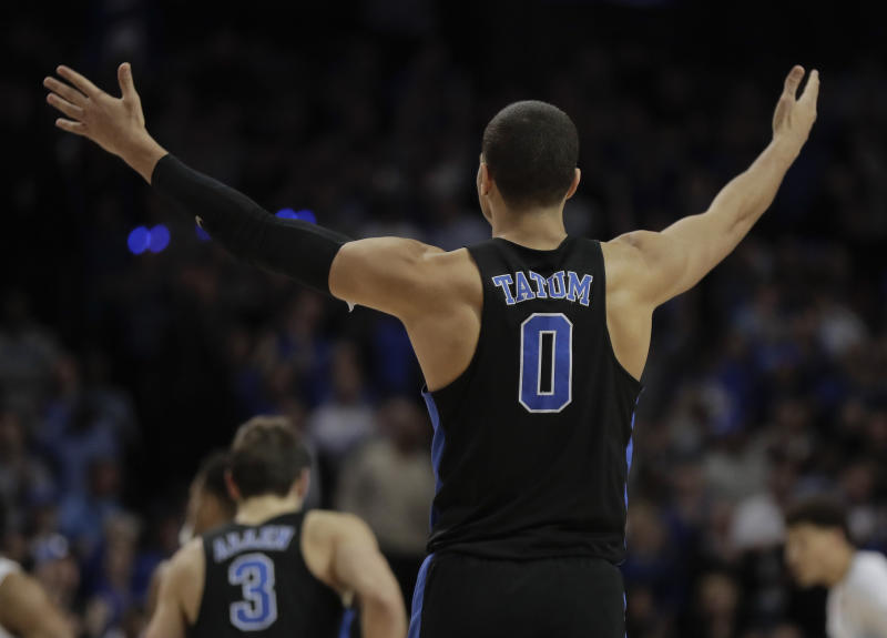 Duke forward Jayson Tatum (0) motions to teammates in the second half of an NCAA college basketball game against North Carolina during the semifinals of the Atlantic Coast Conference tournament, Friday, March 10, 2017, in New York. Duke won 93-83. (AP Photo/Julie Jacobson)
