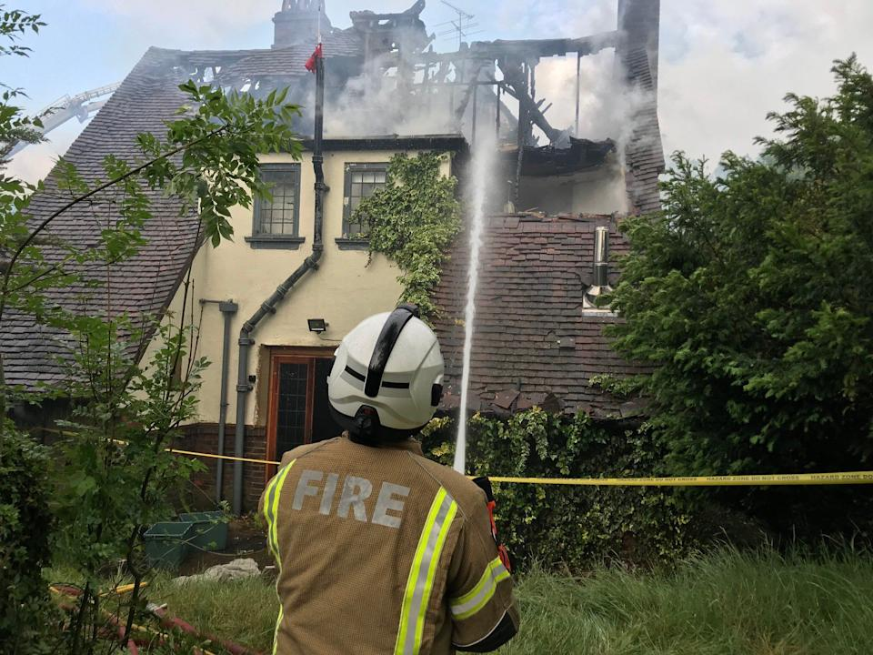 The JLS star's house went up in flames on Tuesday afternoon (Credit: London Fire Brigade)