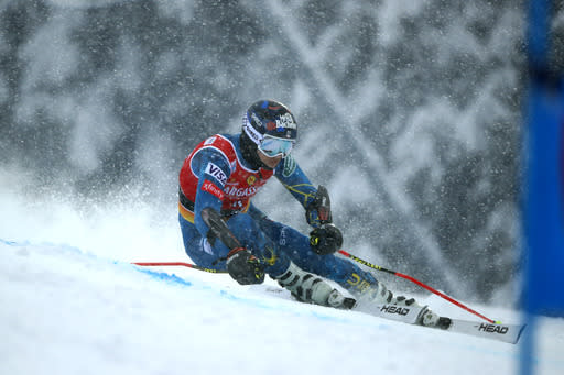 United States' Tommy Ford competes during the first run of an alpine ski, World Cup men's giant slalom in Santa Caterina Valfurva, Italy, Saturday, Dec. 5, 2020. (AP Photo/Gabriele Facciotti)