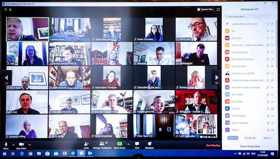 The prime minister tweeted this image of his virtual cabinet meeting held via Zoom while he was self isolating at the end of March. (PA)
