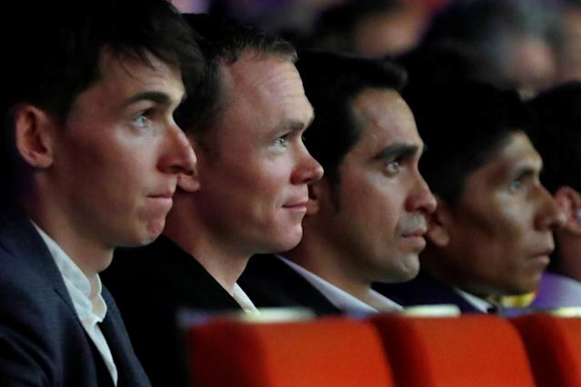 L to R: Riders Romain Bardet, Chris Froome, Alberto Contador and Nairo Quintana attend a news conference to announce the itinerary of the 2018 Tour de France cycling race in Paris in Paris, France, October 17, 2017. The world's greatest cycling event will start from Noirmoutier-en-L'Ile on July 7 and will finish at the Champs Elysees in Paris on July 29. REUTERS/Charles Platiau