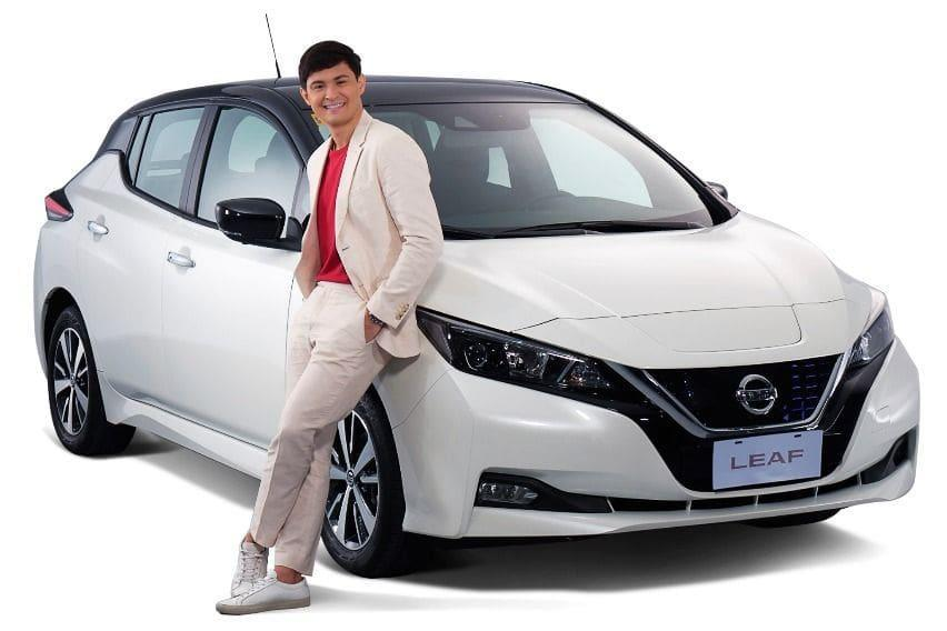 Matteo Guidicelli with Nisan upcoming star, Nissan Leaf
