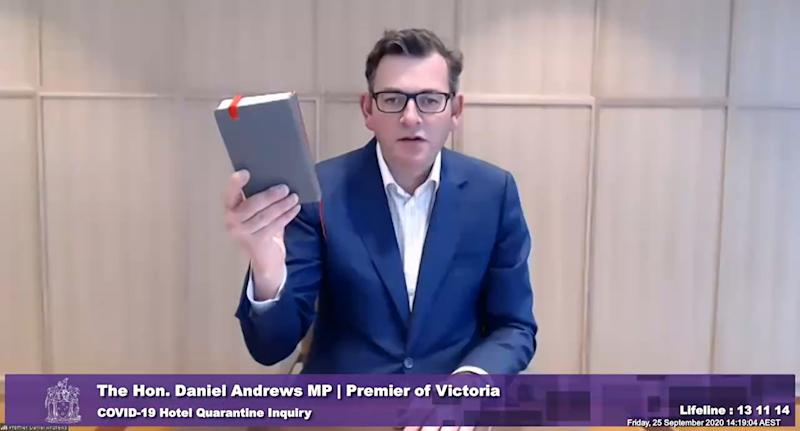 A screenshot shows Victorian Premier Daniel Andrews during the Covid-19 Hotel Quarantine Inquiry in Melbourne, Friday, September 25, 2020.