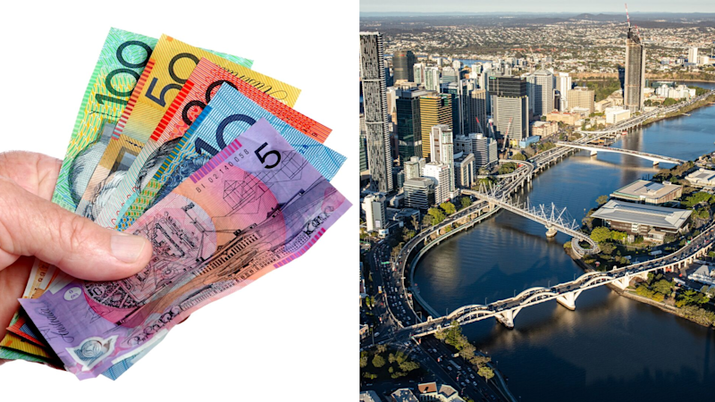 Pictured: Australian cash, the Brisbane River in Queensland. Images: Getty
