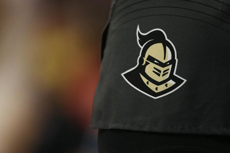 CINCINNATI, OH - FEBRUARY 21: A UCF Knights logo during the game against the Central Florida Knights and the Cincinnati Bearcats on February 21st 2019, at Fifth Third Arena in Cincinnati, OH. (Photo by Ian Johnson/Icon Sportswire via Getty Images)
