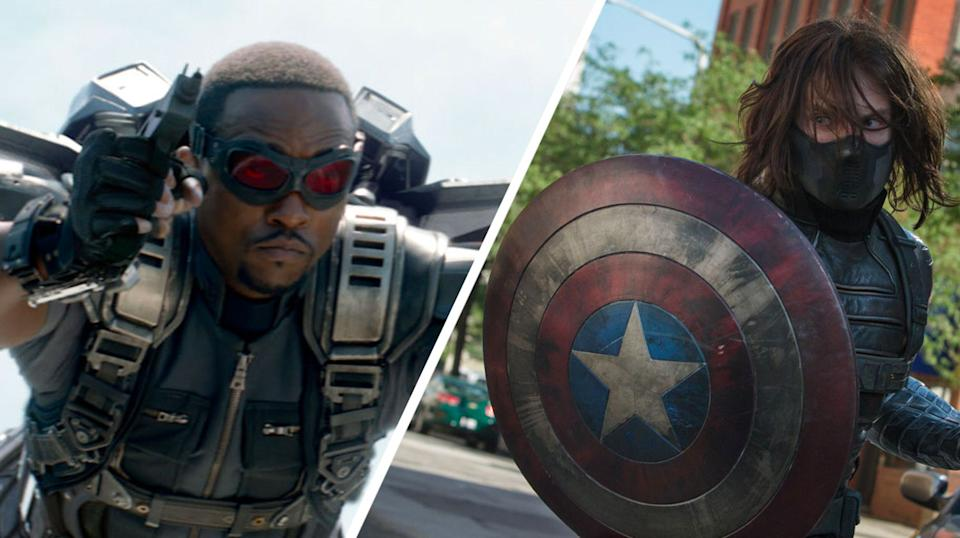 Anthony Mackie's Sam and Sebastian Stan's Bucky first crossed paths as adversaries in <i>Captain America: The Winter Soldier</i>. (Marvel/Disney)