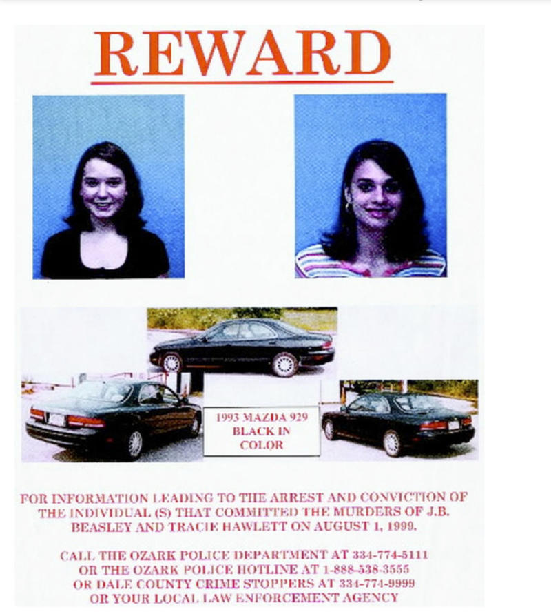 The girls' car was recovered in August of 1999 after they were reported missing. Their bodies were found inside of its trunk. (Ozark Police Department via AP)
