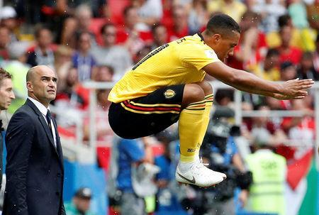 Soccer Football - World Cup - Group G - Belgium vs Tunisia - Spartak Stadium, Moscow, Russia - June 23, 2018 Belgium coach Roberto Martinez looks on as Youri Tielemans prepares to come on as a substitute REUTERS/Christian Hartmann