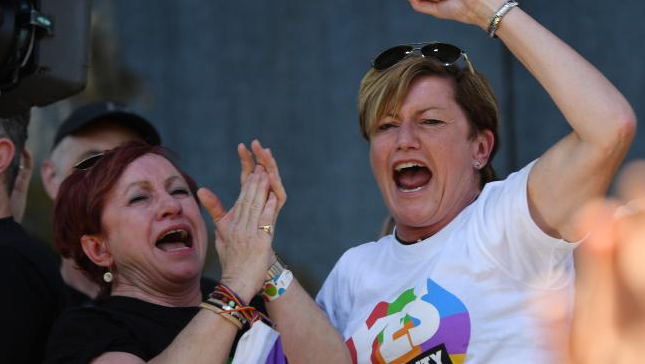 Yes supporter Christine Forster was jumping for joy at the announcement in Sydney. Source: AAP
