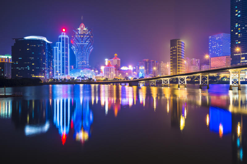 Macau's skyline at night.
