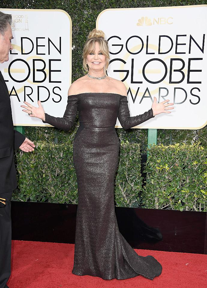 <p>She may be 73, but Goldie Hawn's red carpet style is totally ageless. [Photo: Getty] </p>