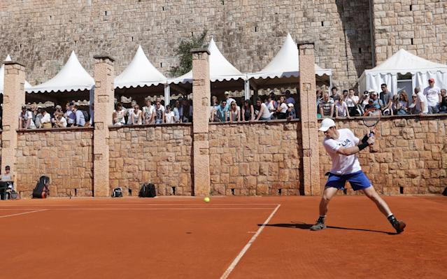 Andy Murray during a practice session in the glorious surroundings of Monte Carlo - REUTERS
