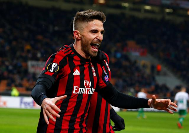 Soccer Football - Europa League Round of 32 Second Leg - AC Milan vs PFC Ludogorets Razgrad - San Siro, Milan, Italy - February 22, 2018 AC Milan's Fabio Borini celebrates scoring their first goal REUTERS/Tony Gentile