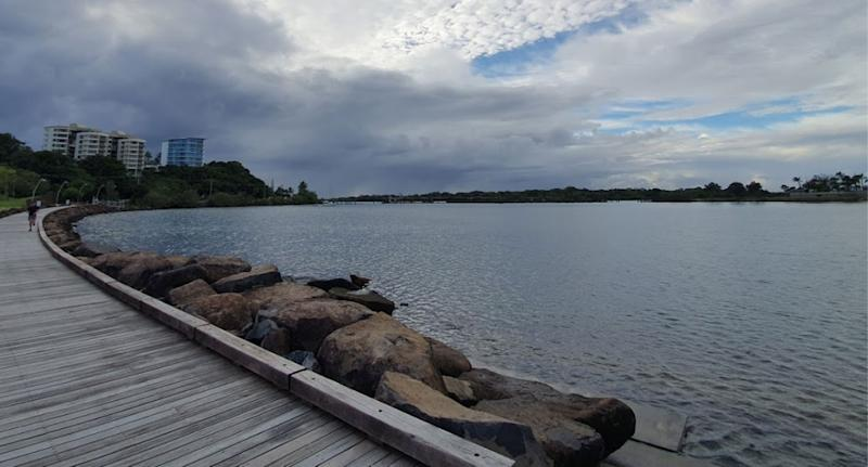 Harbour in Tweed Heads where couple found dead man's body in sleeping bag while walking dog.