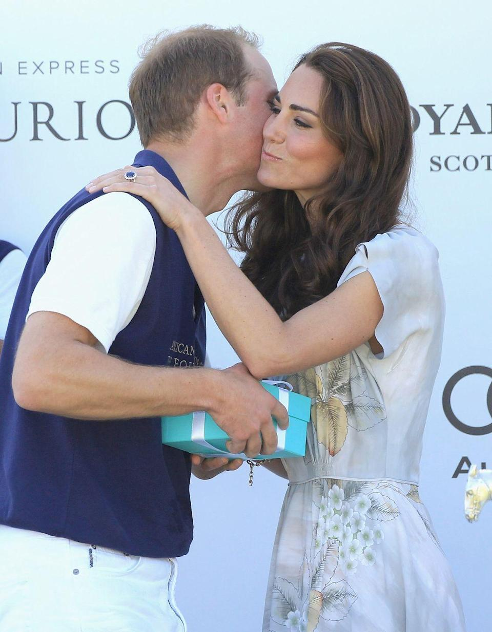 <p>Kate gave her husband a kiss on the cheek after his team won the Foundation Polo Challenge at the Santa Barbara Racquet and Polo Club in California, July 2011.</p>