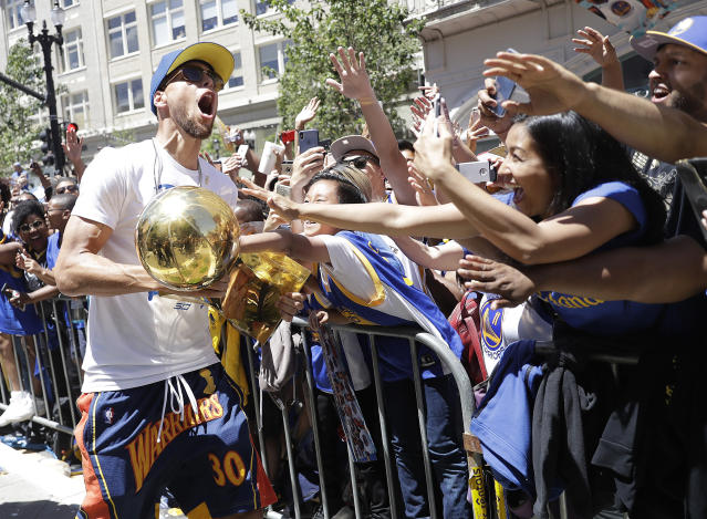 Stephen Curry is preparing to go for his fourth championship in five years. (AP Photo/Marcio Jose Sanchez)