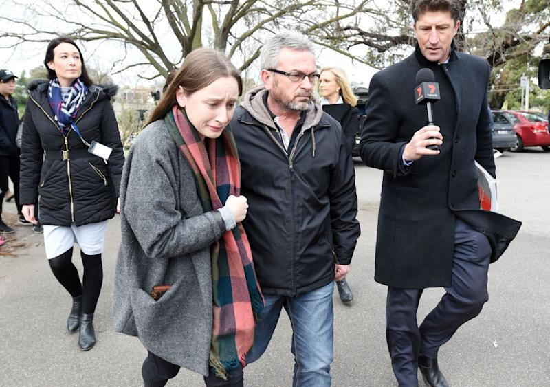 Sarah Ristevski and her dad Borce plead for help to find Karen right after her disappearance. Source: AAP