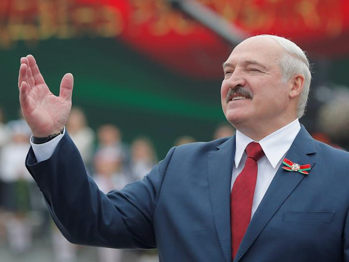 FILE PHOTO: Belarusian President Alexander Lukashenko gestures as he takes part in the celebrations of Independence Day in Minsk, Belarus July 3, 2020. REUTERS/Vasily Fedosenko