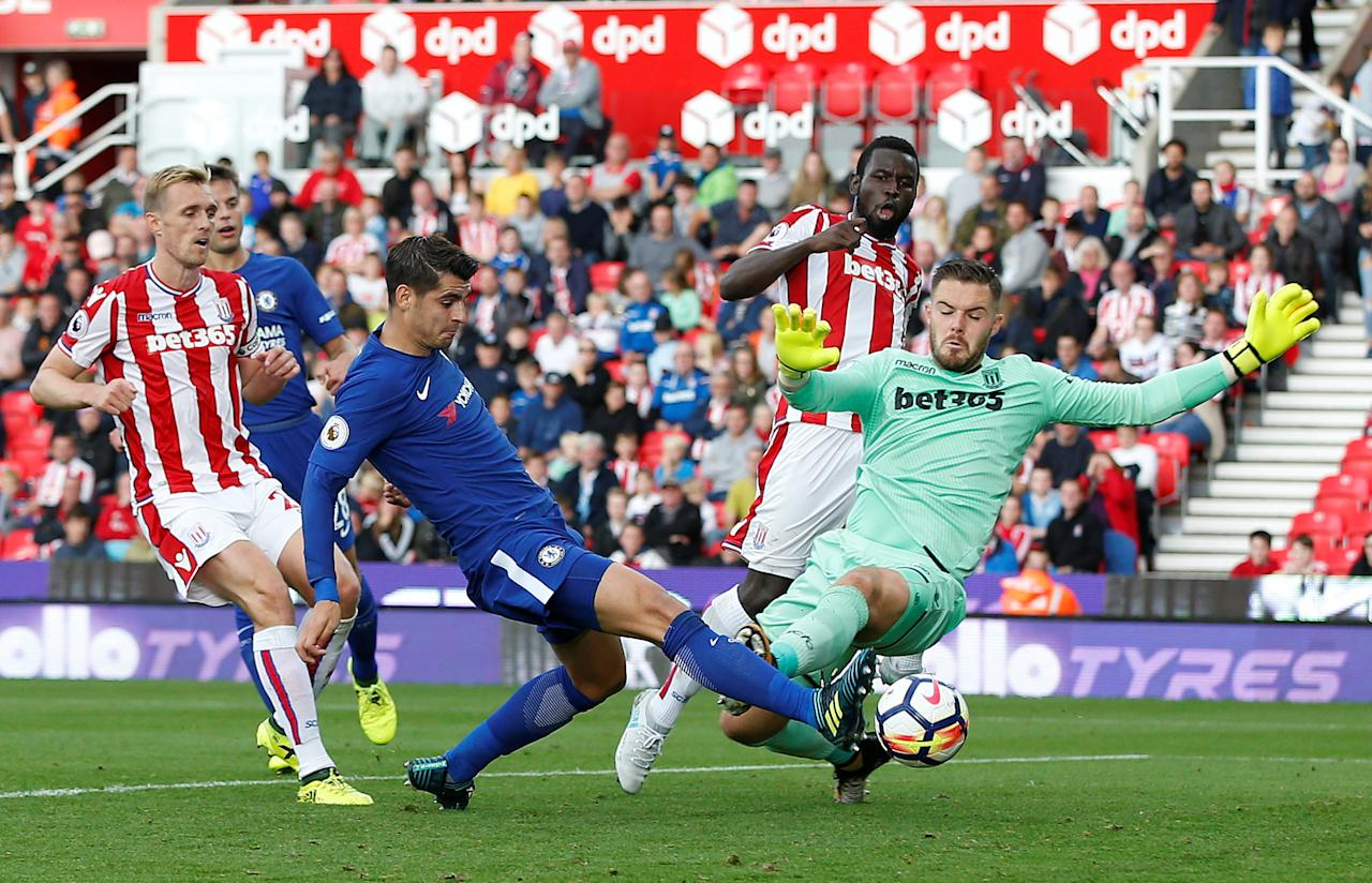"Soccer Football - Premier League - Stoke City vs Chelsea - bet365 Stadium, Stoke-On-Trent, Britain - September 23, 2017   Chelsea's Alvaro Morata scores their fourth goal to complete his hat-trick    REUTERS/Andrew Yates    EDITORIAL USE ONLY. No use with unauthorized audio, video, data, fixture lists, club/league logos or ""live"" services. Online in-match use limited to 75 images, no video emulation. No use in betting, games or single club/league/player publications. Please contact your account representative for further details."