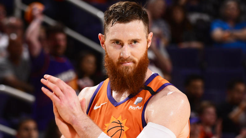 Aron Baynes, pictured playing against the Portland Trail Blazers, has logged two monster games.